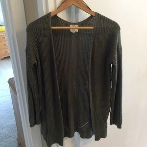 Hippie Rose medium green cardigan sweater